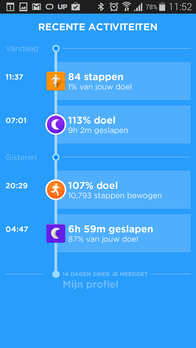 Jawbone UP24 Dagverloop