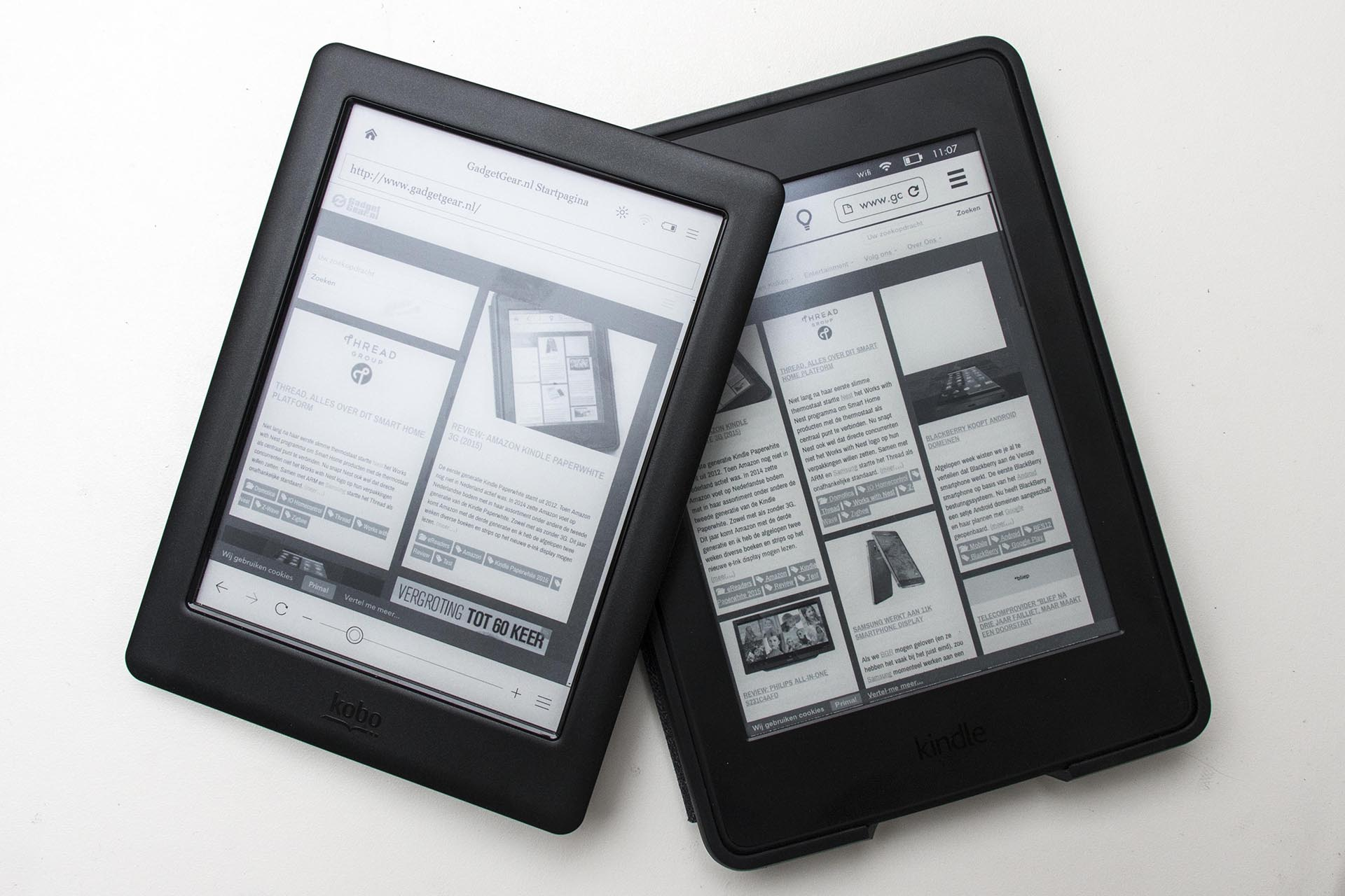 Amazon Kindle Paperwhite 2015 Vs Kobo Glo Hd Gadgetgear Nl