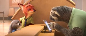 """ZOOTOPIA –FLASH, THE FASTEST SLOTH AT THE DMV -- When rookie rabbit officer Judy Hopps (voice of Ginnifer Goodwin) has only 48 hours to crack her first case, she turns to scam-artist fox Nick Wilde for help, but he doesn't always have her best interests at heart. Their investigation takes them to the local DMV (Department of Mammal Vehicles), which is staffed entirely by sloths. Directed by Byron Howard and Rich Moore, and produced by Clark Spencer, Walt Disney Animation Studios' """"Zootopia"""" opens in U.S. theaters on March 4, 2016. ©2015 Disney. All Rights Reserved."""