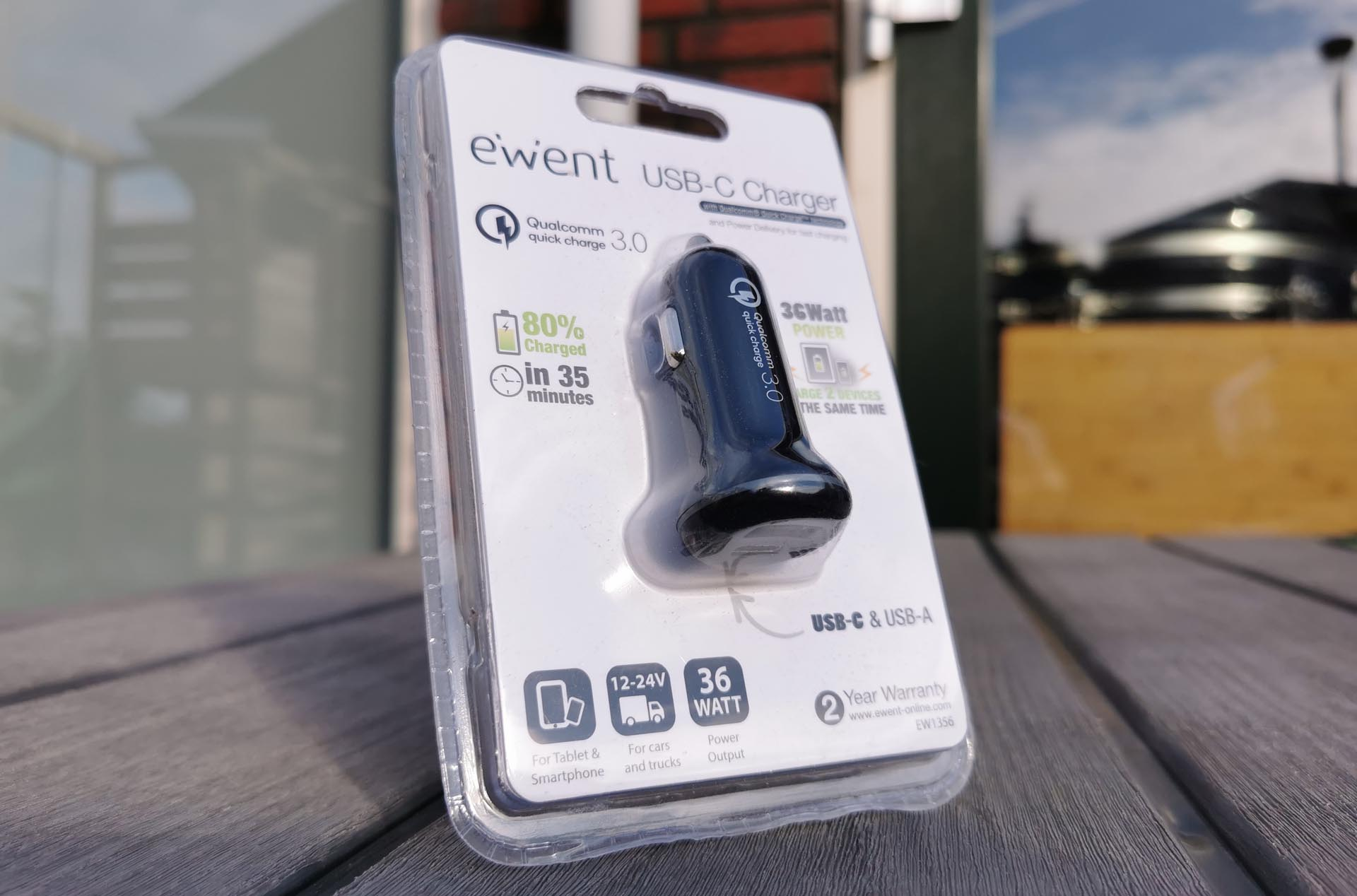 Ewent USB-C Charger 36 Watt EW1356 Verpakking
