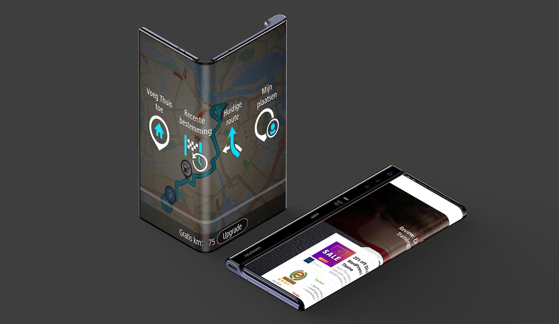 Huawei Mate X Fold met TomTom
