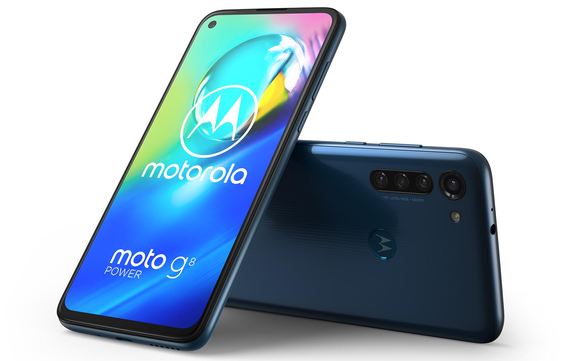 Motorola G8 Power Capri Blue uitvoering