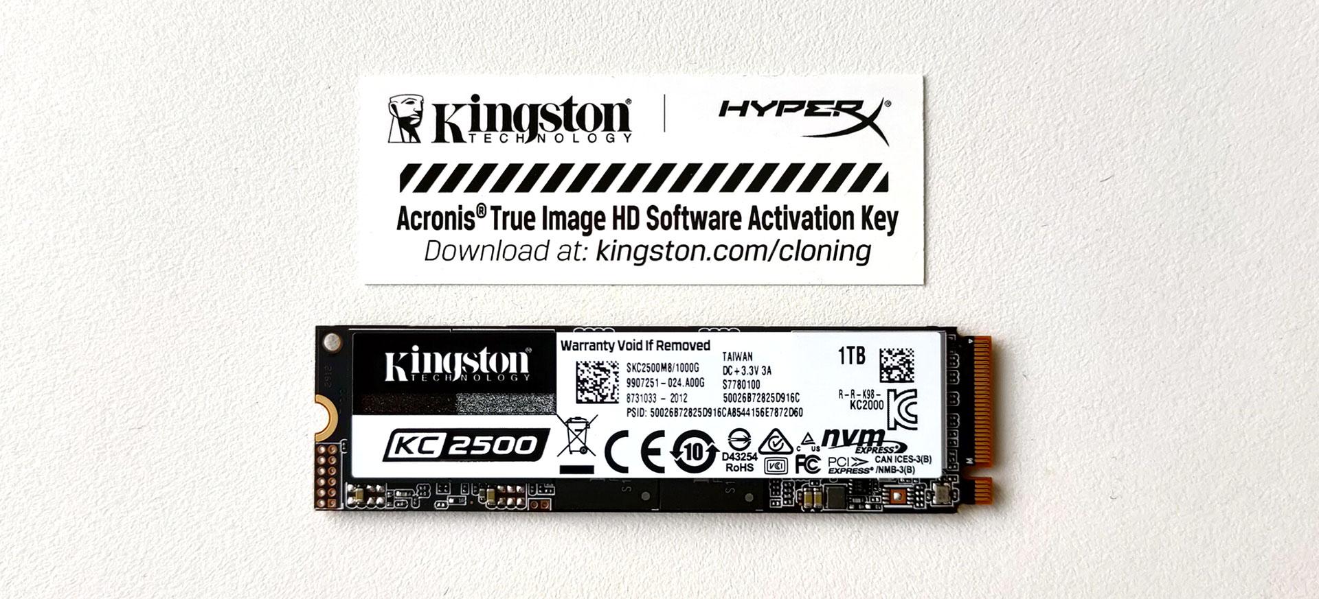 Kingston KC2500 1TB NVMe SSD uitgepakt